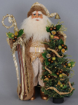 CC17-19 Lighted Ivory & Gold Santa