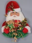 SH36-01 Lighted Santa Head with Gift Bag Door/Wall Hanger