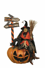 "HASC-02  ""Agnes"" Witch on Lighted Fiber Optic Pumpkin"
