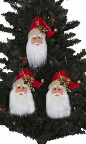 ORN-10 3PC Santa Head Ornaments